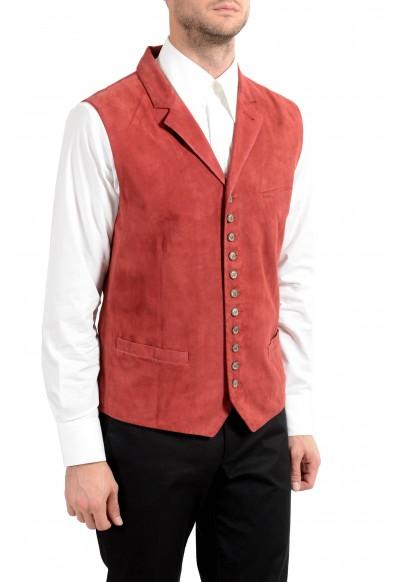 John Varvatos Men's 100% Suede Leather Brick Red Button Up Vest : Picture 2