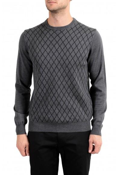 Roberto Cavalli Men's 100% Wool Gray Geometric Print Crewneck Sweater