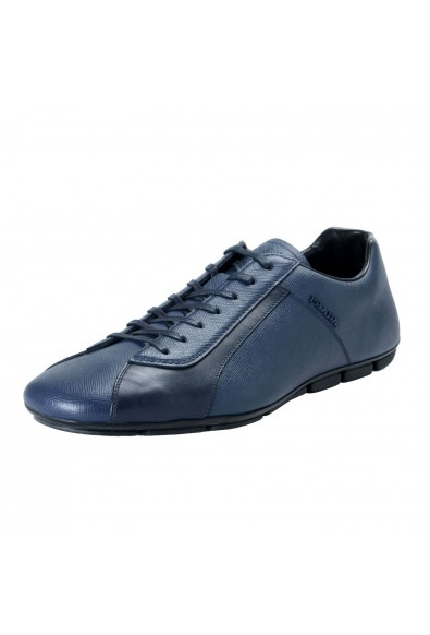 Prada Men's Leather Navy Blue Lace Up Fashion Sneakers Shoes