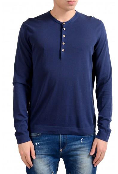 Malo Men's Navy Blue Henley Light Sweater