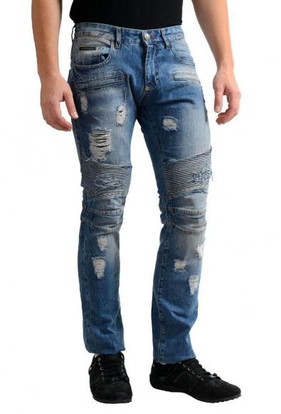 "Philipp Plein ""Illegal Fight Club"" Men's Blue Straight Cut Jeans : Picture 2"