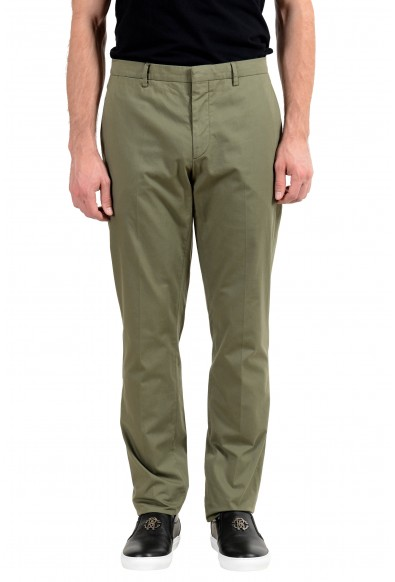 Burberry Men's Olive Green Stretch Casual Pants
