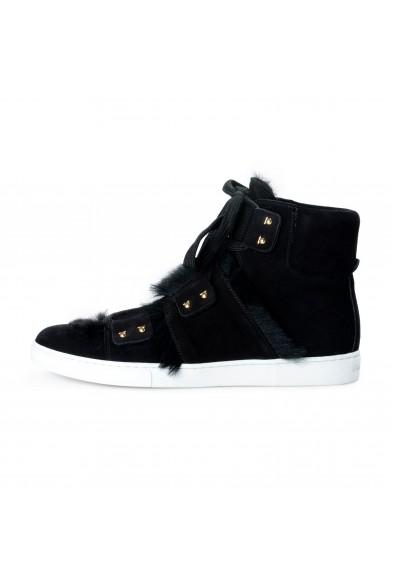 "Salvatore Ferragamo Women's Black ""SOLDA"" Suede Fur Sneakers Boots Shoes: Picture 2"