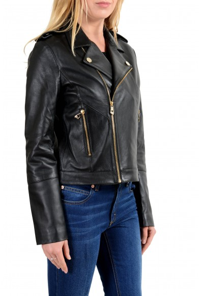 Versace Collection Women's Black 100% Leather Double Breasted Jacket: Picture 2
