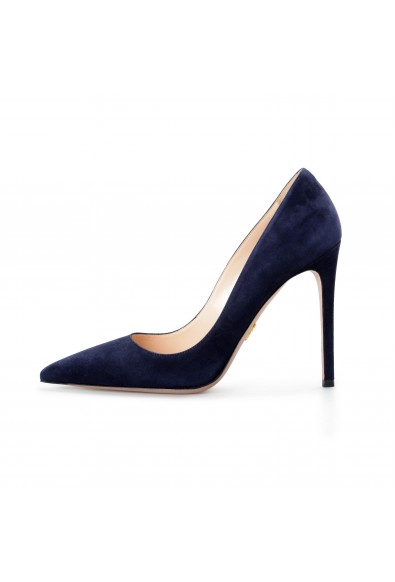 Prada Women's Navy Blue 11939F Suede Leather High Heel Pumps Shoes: Picture 2