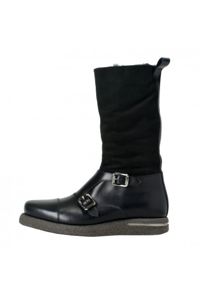 Versace Men's Suede Leather Real Fur Winter Boots Shoes: Picture 2