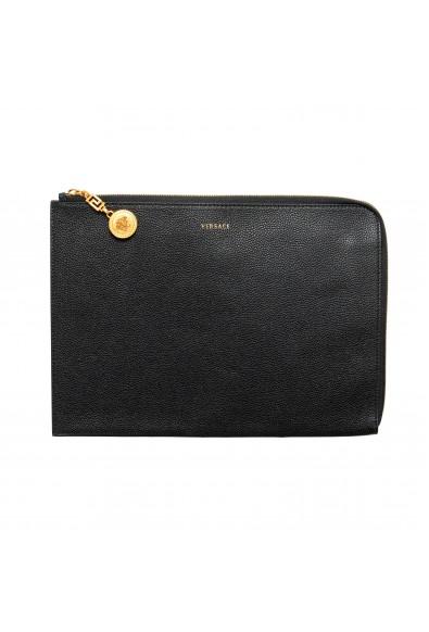 Versace Women's Black Textured Leather Large Zip Around Clutch Bag