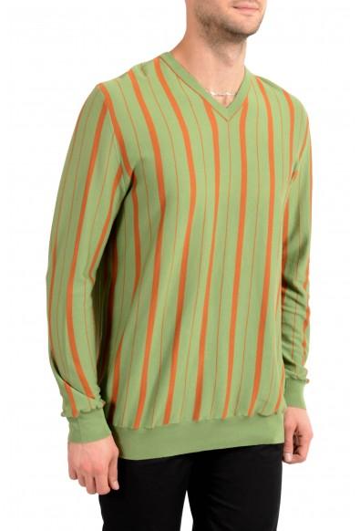 Kiton Men's Orange & Green Striped V-Neck Pullover Sweater : Picture 2