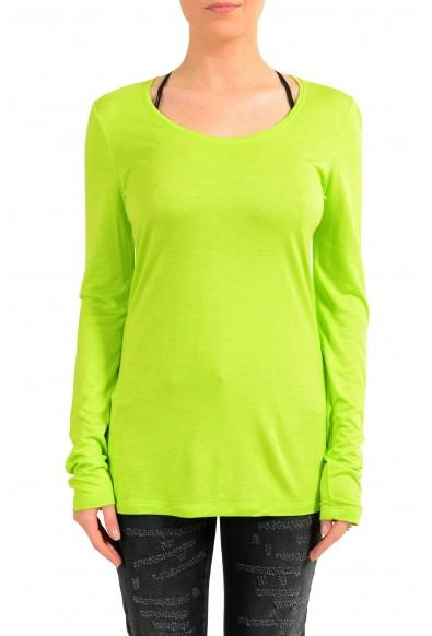 Versace Jeans Women's Green Crewneck Long Sleeve Top