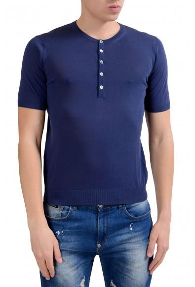Malo Men's Blue Knitted Short Sleeve Henley Shirt