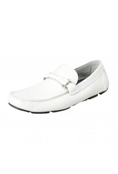 """Salvatore Ferragamo Men's """"Granprix"""" White Leather Slip On Loafers Shoes"""
