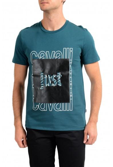 Just Cavalli Men's Green Graphic Print Crewneck T-Shirt