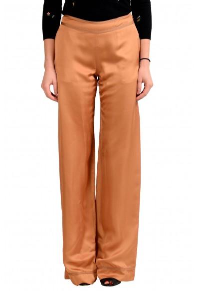 Maison Margiela 4 100% Silk Brown Usual Shape Women's Casual Pants