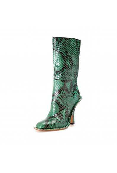 Marni Women's Green Python Skin High Heel Ankle Boots Shoes