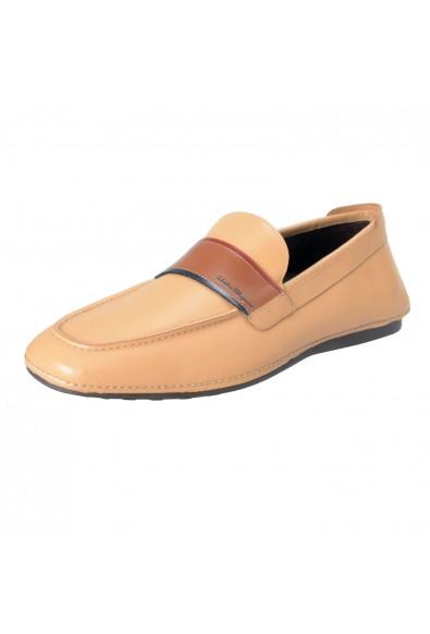 "Salvatore Ferragamo ""Florida"" Men's Leather Beige Loafers Slip On Shoes"