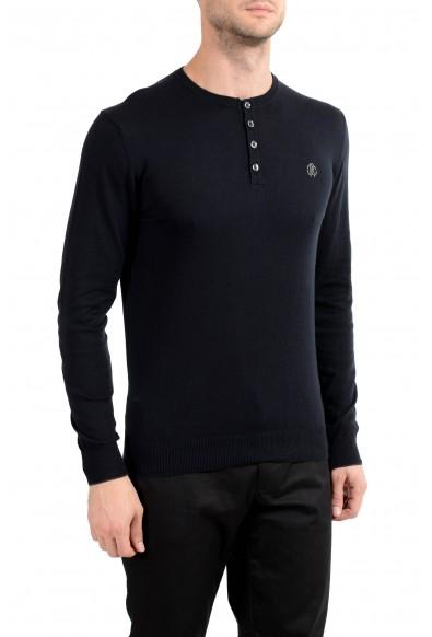 Roberto Cavalli Men's Cashmere Navy Blue Henley Sweater: Picture 2