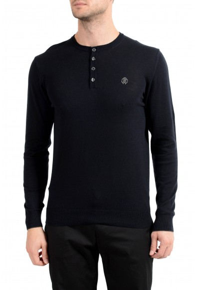 Roberto Cavalli Men's Cashmere Navy Blue Henley Sweater