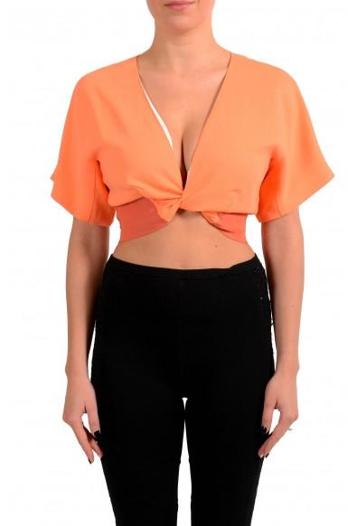Just Cavalli Women's Orange Cropped Blouse Top