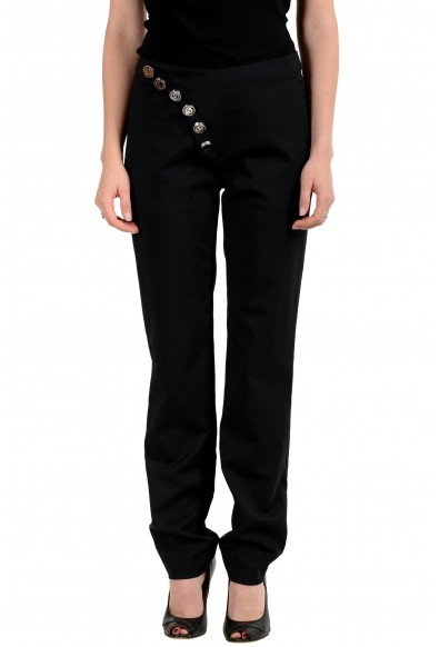 Versus By Versace Women's Black Wool Button Decorated Pants