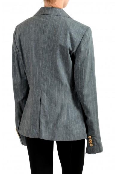 Malo Women's Gray Striped Silk Linen Button Down Blazer : Picture 2