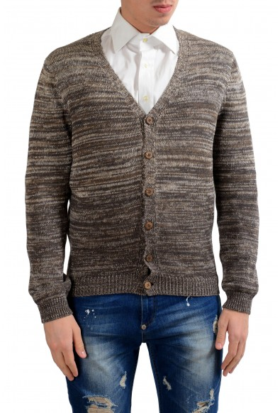 Malo Men's Linen Silk Brown Cardigan Sweater