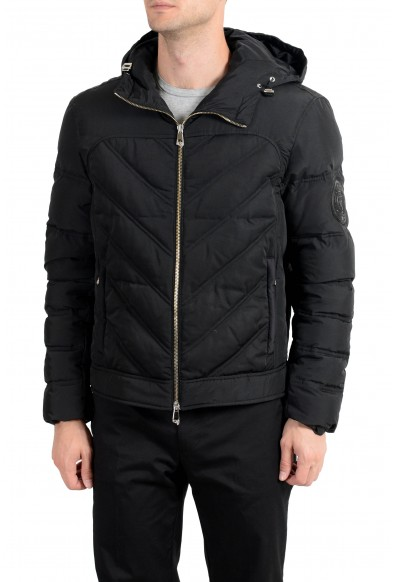 Versace Collection Men's Black Down Full Zip Hooded Parka Jacket