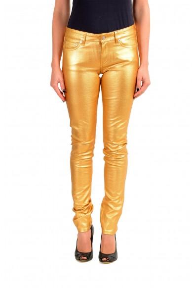 Saint Laurent Women's Gold Coated Jeans