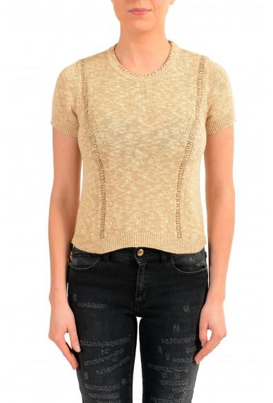 Maison Margiela Women's Beige Short Sleeve Knitted Top