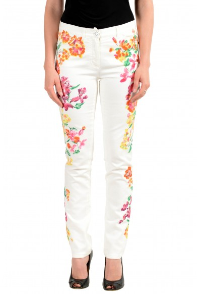 Versace Women's Off White Coated Floral Print Five Pocket Jeans