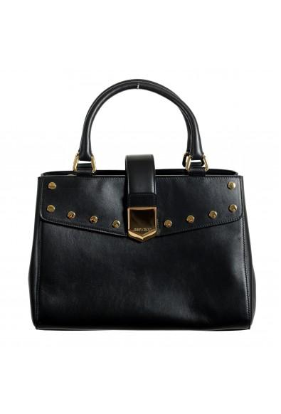 "Jimmy Choo Women's Black Leather ""Lockett"" Satchel Handbag Bag"