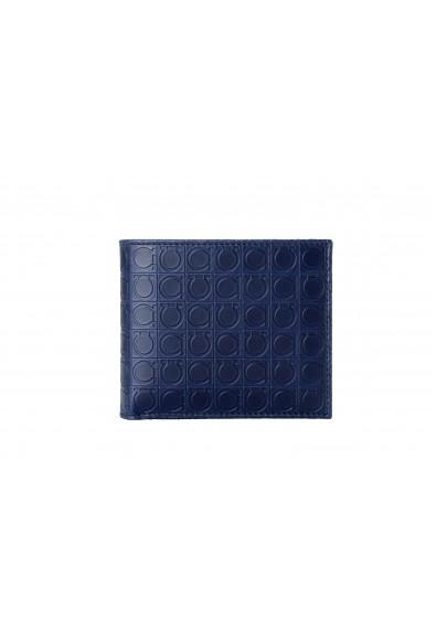 Salvatore Ferragamo Men's Navy Blue 100% Leather Logo Print Bifold Wallet