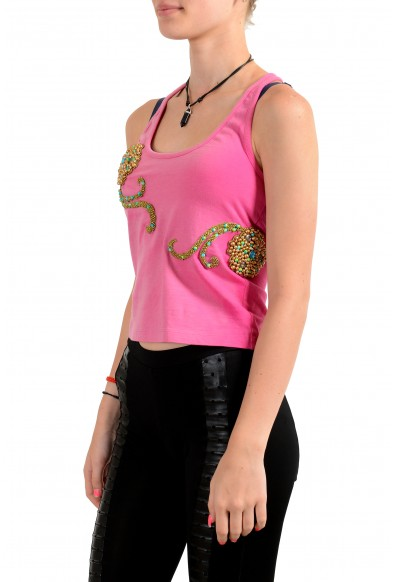 Just Cavalli Women's Purplish Pink Embellished Halter Blouse Top: Picture 2