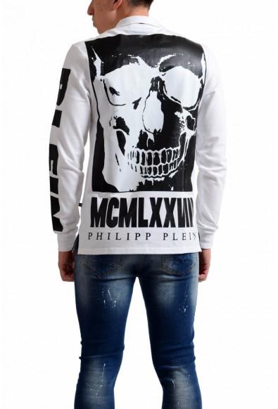 Philipp Plein Homme Men's White Print Long Sleeve Polo Shirt: Picture 2