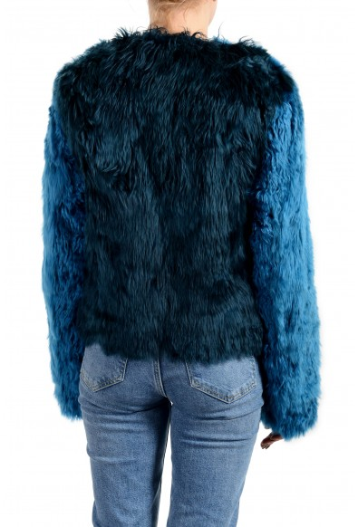 Versace Women's Blue Real Fur Lama Silk Leather Jacket: Picture 2