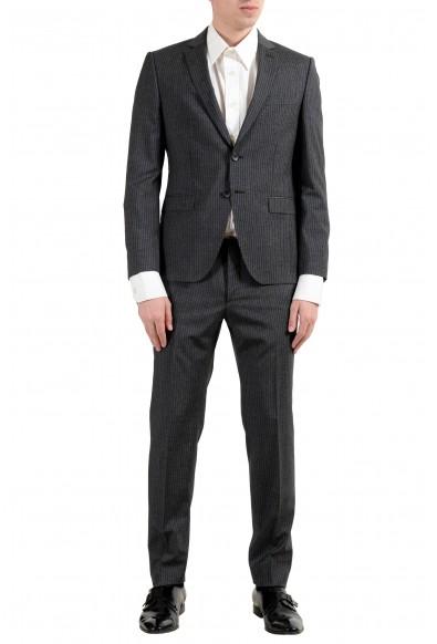 "Hugo Boss ""Reymond/Wented"" Men's Silk Wool Striped Gray Slim Two Button Suit"