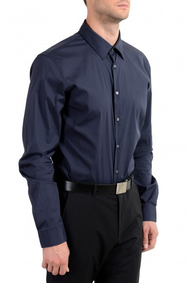 Burberry Men's Dark Blue Slim Long Sleeve Dress Shirt: Picture 2