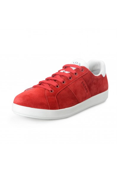 """Prada Men's """"Scamosciato H"""" Red Suede Leather Fashion Sneakers Shoes"""