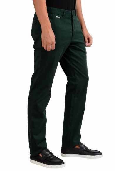 Versace Collection Stretch Men's Dark Green Casual Pants: Picture 2