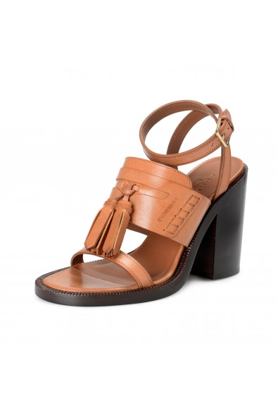 BURBERRY London Women's BETHANY Brown Leather Ankle Strap Heeled Sandals Shoes