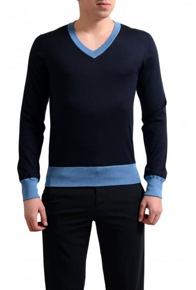 Dolce & Gabbana Men's Navy Blue Cashmere Silk V-Neck Sweater