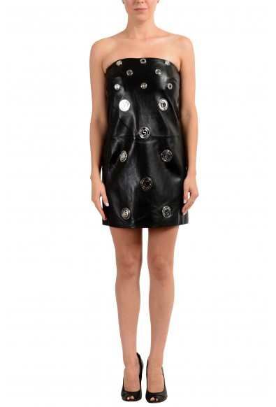 Versus by Versace Women's 100% Leather Black Strapless Mini Dress