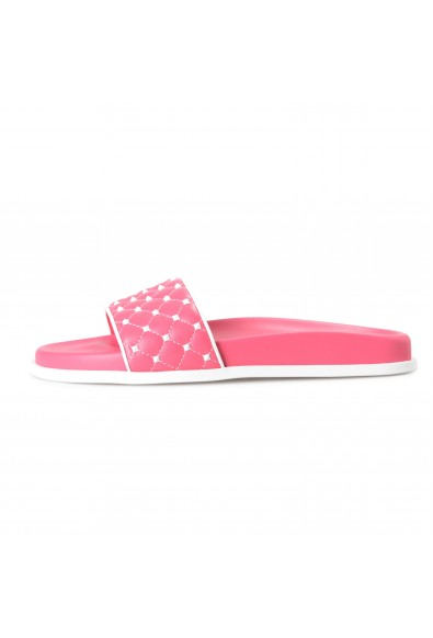 Valentino Women's Pink Leather Rockstud Flip Flops Sandals Shoes: Picture 2