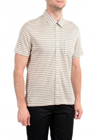 Malo Men's Multi-Color Striped Linen Short Sleeve Casual Shirt : Picture 2
