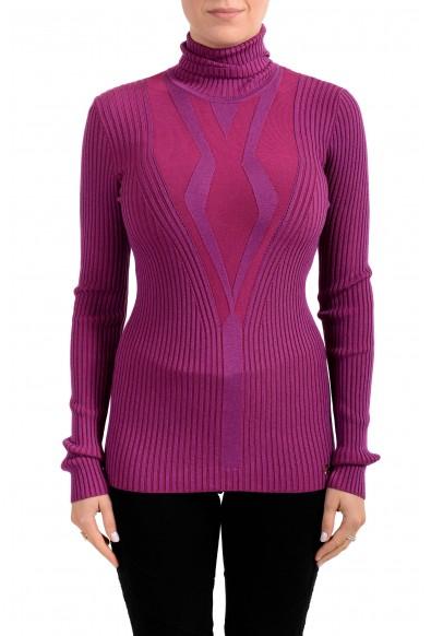 Versace Collection Women's Purple Turtleneck Sweater