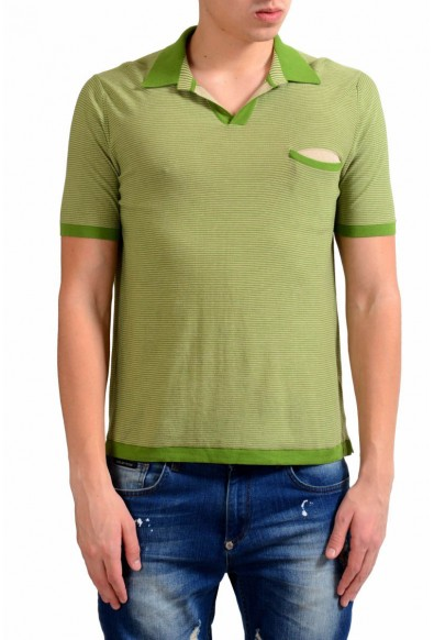 Malo Men's Striped Knitted Short Sleeve Polo Shirt