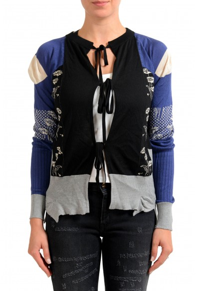 Maison Margiela 100% Silk Multi-Color Knitted Women's Cardigan Sweater