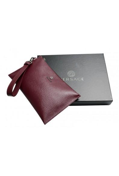 Versace 100% Leather Burgundy Women's Wristlet Clutch