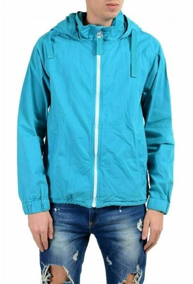 "Hugo Boss ""Oltone-D"" Men's Blue Hooded Full Zip Windbreaker Jacket"
