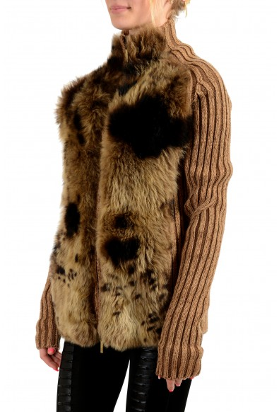 Roberto Cavalli Women's Real Fur Leather 100% Wool Knitted Jacket : Picture 2