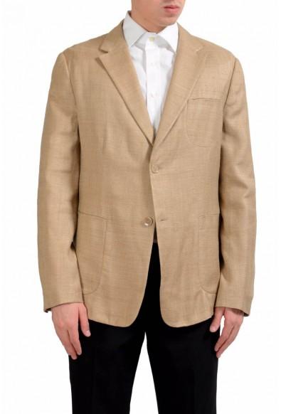 Malo Men's 100% Silk Two Button Light Brown Blazer Sport Coat